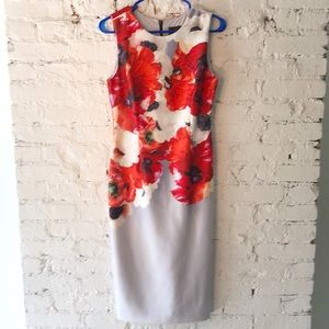 Adrianna Pappell floral print dress red gray white